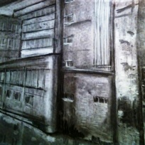Manchester factory, 2012, charcoal