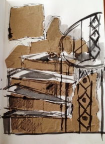 Torn brown paper, pen, brush and ink
