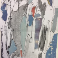 Tree bark, stretched on photocopier with collage