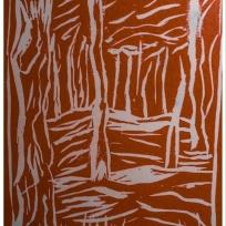 Nantucket trees linoprint