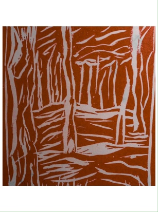 Nantucket trees linoprint