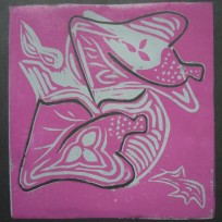 16 Rhino grey and pink on black paper