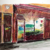 Pink shop, New Cross Rd, oil pastels