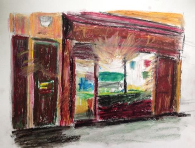 Pink shop, New Cross Rd, oil pastels