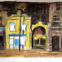 New Cross arch at night, oil pastels