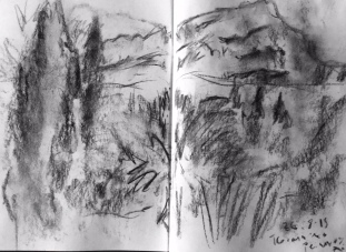 Mont St Victoire drawn from hill near Cezanne's studio