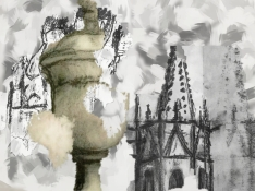 Photoshop collage of drawing of old stone, urn and tower