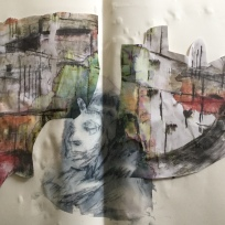 cut up photocopies of painting with photo transfer