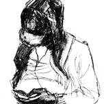 drawing, boy with phone
